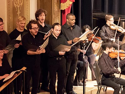 Photo of Opera Apprentices singing in July 4th concert.