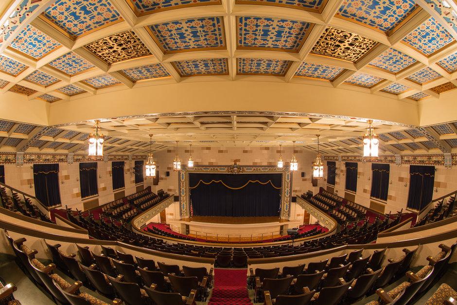 Fish eye view of Chisholm HS Auditorium